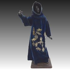 19th Century Spanish-African Saint Statue with Milagros