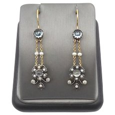 Edwardian14kt Gold and Silver Moonstone, Seed Pearl, and Diamond Earrings