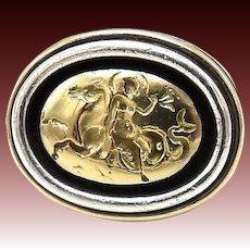Potter & Mellen Sterling Silver and 14kt Gold Hippocampus Intaglio Ring