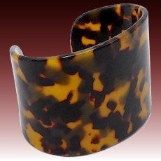 Vintage Early Plastic Faux Tortoise Shell Cuff Bracelet