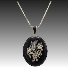 Victorian 14kt Gold, Black Enamel and Pearl Mourning Locket