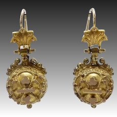 Etruscan Revival 14kt Gold Spherical Earrings