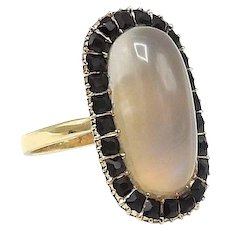 Early Victorian 12kt Gold, Black Jet and Moonstone Ring