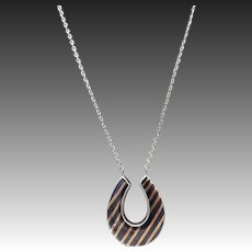 Sterling Silver Niello and Rose Gold Horseshoe Necklace
