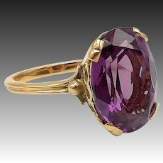 14kt Yellow Gold and Synthetic Alexandrite Ring