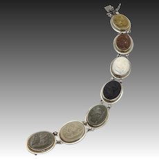 19th C. Grand Tour Sterling Silver Lava Cameo Bracelet