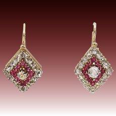 Antique Paste 14KT Gold Russian Rhombus Earrings