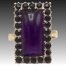 Early Victorian 12kt Gold, Black Jet and Amethyst Ring