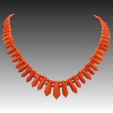 Victorian Graduated Picket and Berries Salmon Coral Necklace