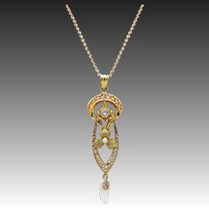 Edwardian 10kt Gold, Diamond, and Pearl Necklace
