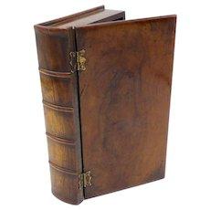 19th Century Handmade Hard Wood Book Shaped Box