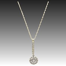 Victorian 14kt Gold, Silver, and Diamond Lavalier Necklace