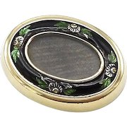 Victorian 12kt Gold, Silver and Enamel, Mourning Hair Brooch