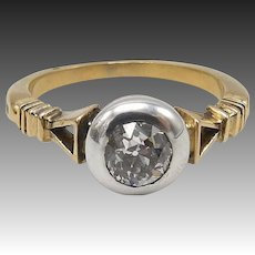 19th Century 15kt Gold and Silver Diamond Ring with Triangular Details