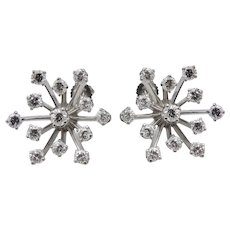 Diamond Starburst 14k White Gold Earrings