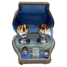 Sterling Silver George Sharp Egg-Cup Holders with Spoons