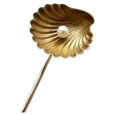 Victorian 14KT Gold Shell with Pearl Stick Pin