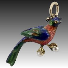 14KT Gold Victorian Enamel Pheasant Charm with Pearls