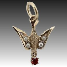 Victorian 14 KT Gold, Pearl & Glass Swallow Charm