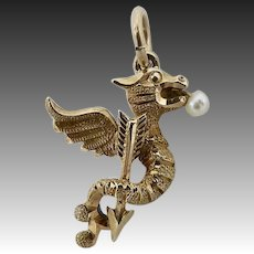 14KT Gold & Pearl Victorian Griffin Charm