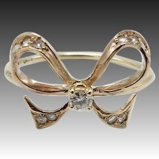 Fanciful 14KT Gold & Diamond Bow Ring