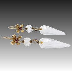18KT Gold Carved Crystal Quartz & Ruby Dangling Victorian Earrings