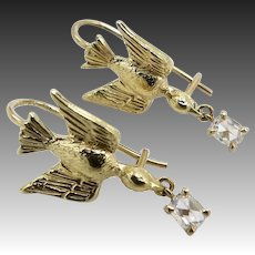 14KT Gold Artisan Swallow Bird Earrings with Diamond
