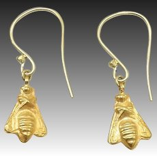21KT Gold Antiquity Afghanistan Bee Earrings