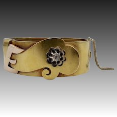 Turn-of-the-Century 14KT Gold Collet-Set Diamond Cuff Bracelet