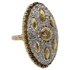 18K Gold Vintage Buccellati Yellow Diamond Ring with Micro Pave