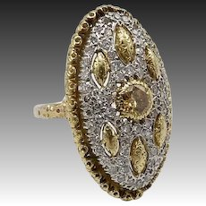 18K Gold Vintage Buccellati Yellow Diamond Ring with Micro Pave