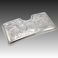 Sterling Silver Calling Card Case with Scrolling Work