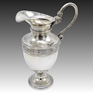 19th C. Belgian Silver Pitcher Snake with Face