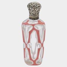19th Century Bohemian Sandwich Glass Perfume Bottle