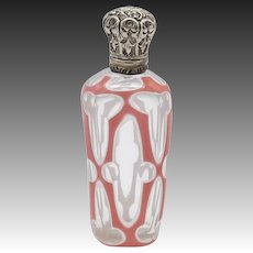 19th Century Bohemian Sandwich Glass Perfume Bottle
