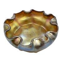 Tiffany Favrile Scallop or Ruffled Edge & Ribbed Art Glass Salt Cellar