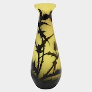 Rare Gallé Cameo Glass Vase in the Thistle Pattern