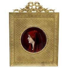 Vintage French Limoges Enamel Portrait of St. Fabiola in Bronze Frame