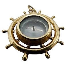 Victorian Brass and Gold Plated Compass Charm