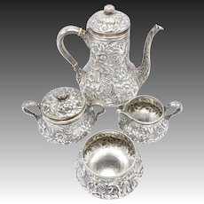 Whiting 4-Piece Sterling Silver Repousse Pattern Coffee Service, 1880
