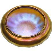 Quezal Irridescent Art Glass Ribbed Salt