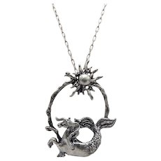 Sterling Silver Capricorn Pendant Necklace, Circa 1970