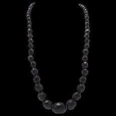 Victorian Black Bakelite Graduated Necklace