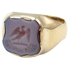 Victorian 14kt Gold and Banded Agate Carved Intaglio Ring