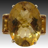 10 K Gold and Oval Fancy Cut Citrine Ring