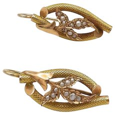Two-Tone 14Kt Gold and Seed Pearl Earrings, Circa 1890