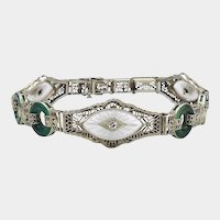 14K White Gold Art Deco Filigree Bracelet with Diamonds, Crystals and Chrysoprase