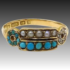 Etruscan Revival 15kt Gold, Turquoise and Seed Pearl Ring, Circa 1872