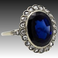 7 Carat Sapphire and Diamond Ring in 15K White Gold
