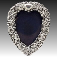 Heart-Shaped English Sterling Silver Repoussé Frame